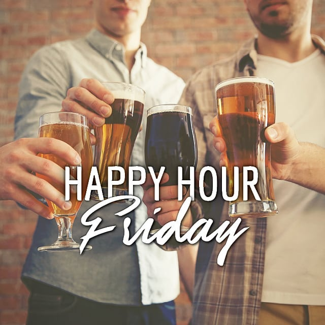 Every Friday night we have HAPPY HOUR from 5-7pm in the Saloon & Front Bar! End the week right with us.