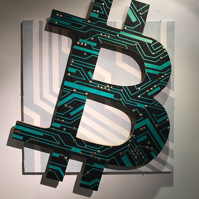 Bitcoin Circuit. Mama there goes that coin!  #bitcoin #bitcoinart #cryptocurrency #crypto #art #painting #fineart #circuit #artist #forsale