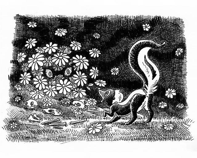 Day 7, #enchanted with a throwback to bambi;) 🐾🌸💝 #inktober2019#inktober#penandink#illustratoroninstagram#illustration#art#artist#animalartist#bambi#skunk#disney#penart#instaartist#animalart