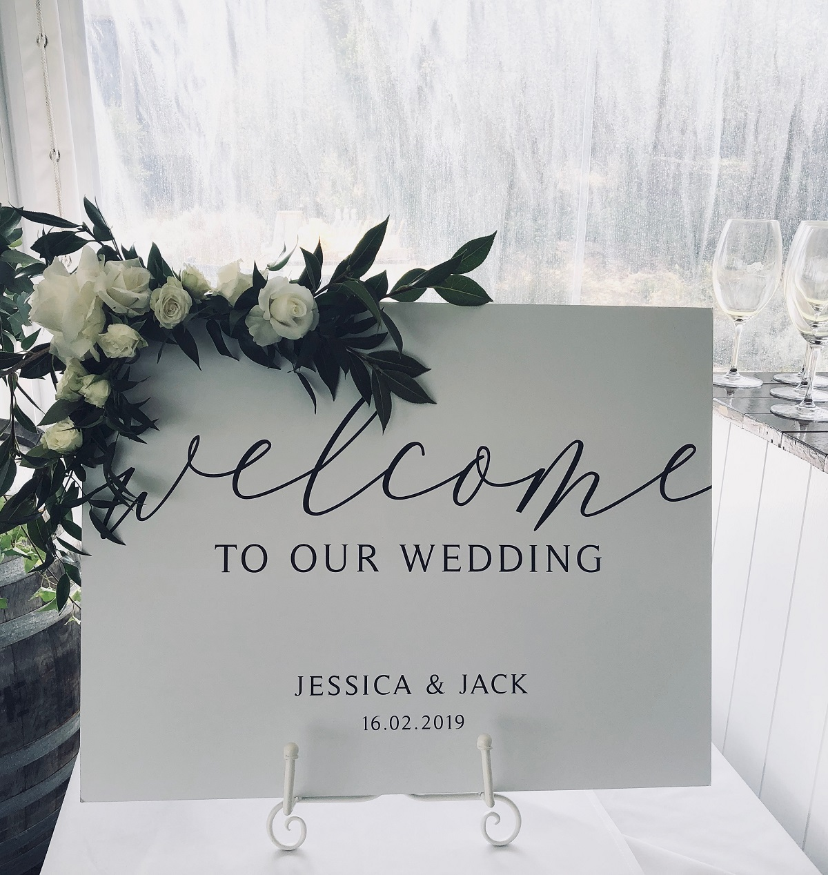 Elegant and classic welcome sign.JPG