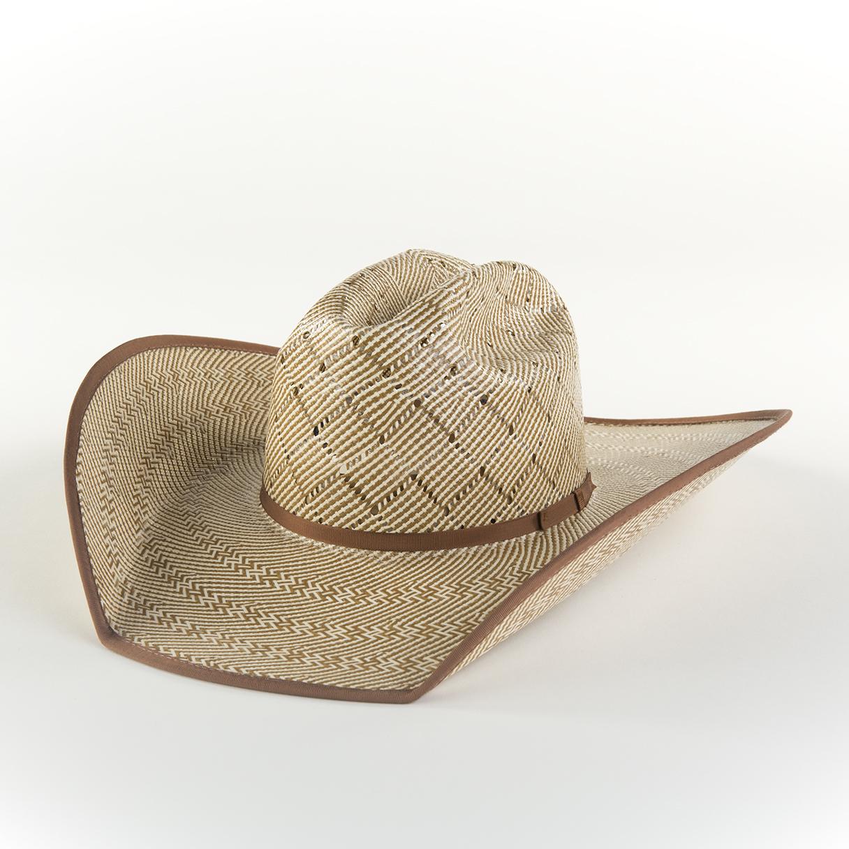 Patchwork Brown - Ivory/Brown Shantung, brim width 3 - 4 1/2 inch.