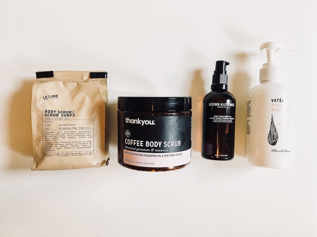 LE LABO - body scrub  /  THANK YOU - coffee scrub  /  GROWN ALCHEMIST - body oil  /  VATEA - body oil