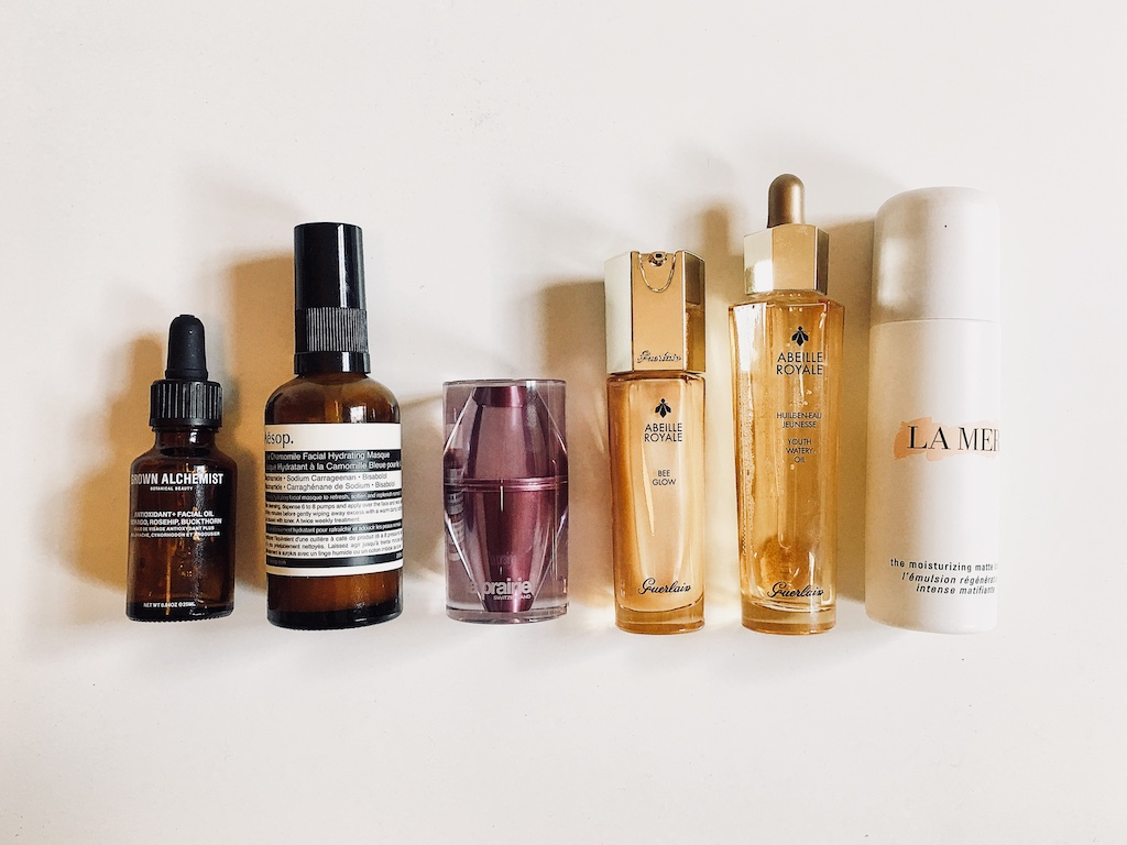 GROWN ALCHEMIST - face oil  /  AESOP - face masque  /  LA PRAIRIE - night elixir  /  GUERLAIN - youth oil  /  La Mer - lotion