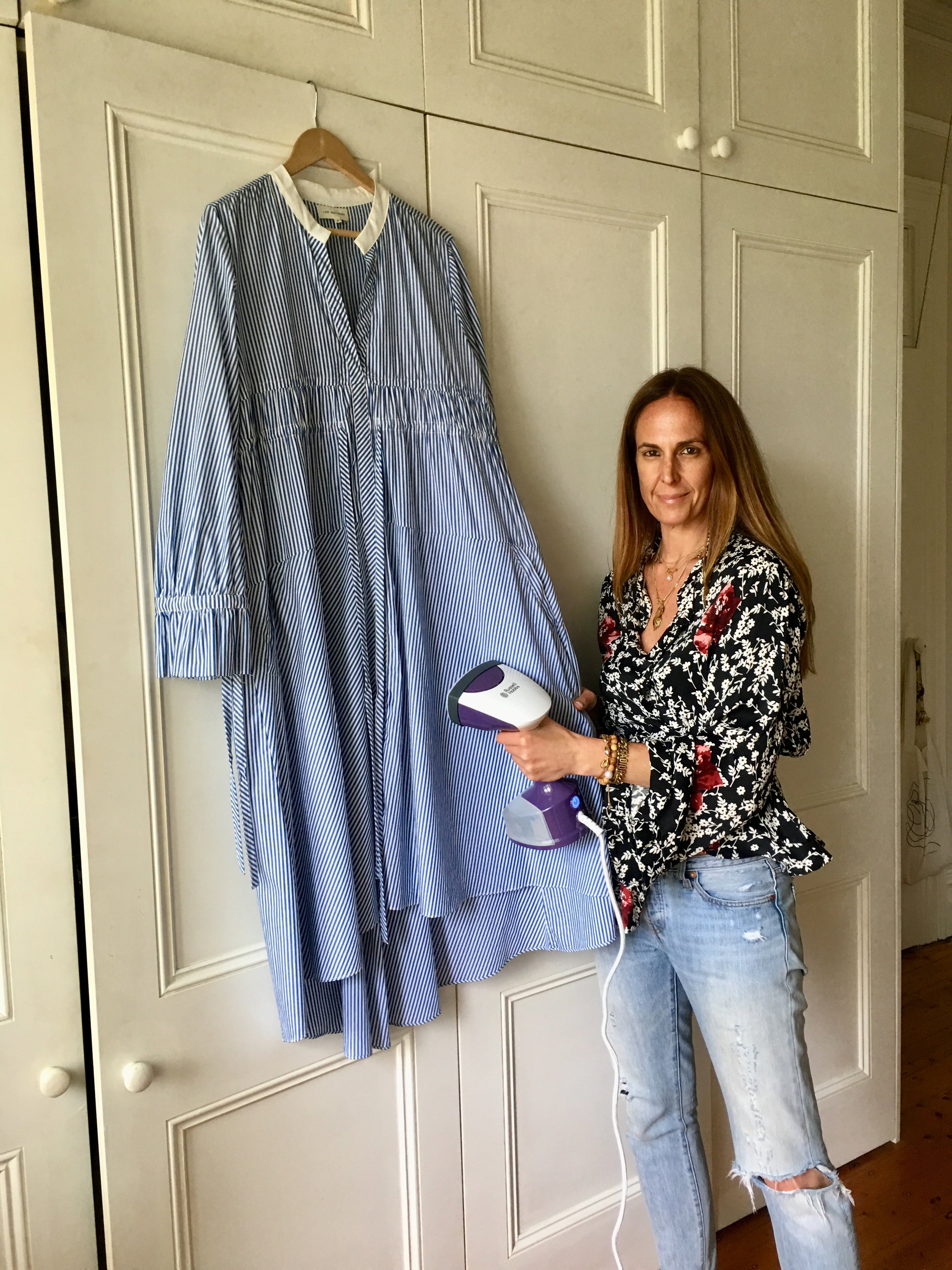 Steaming shirting or dresses