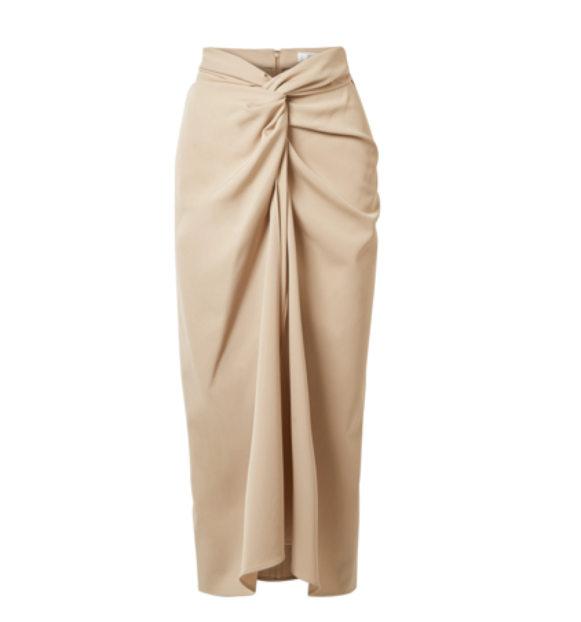Max Mara -   Twist-front Wool-twill Midi Skirt