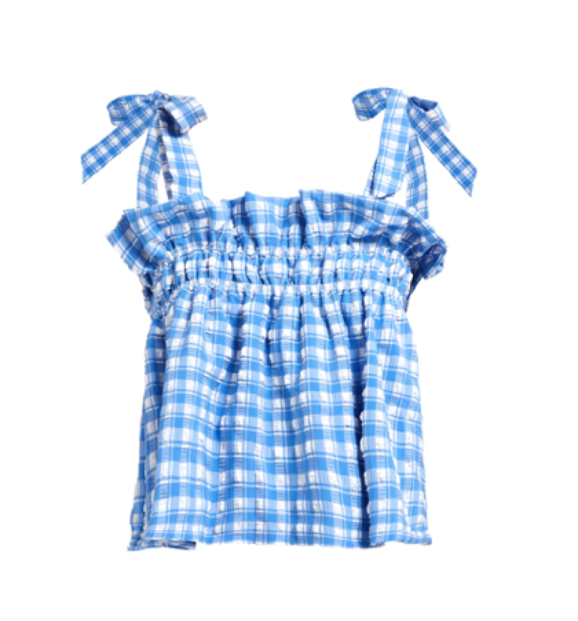 Ganni -  Murillo Gingham Seersucker Top