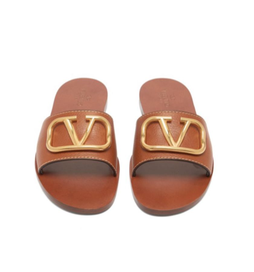 Valentino -  Logo Leather Slides