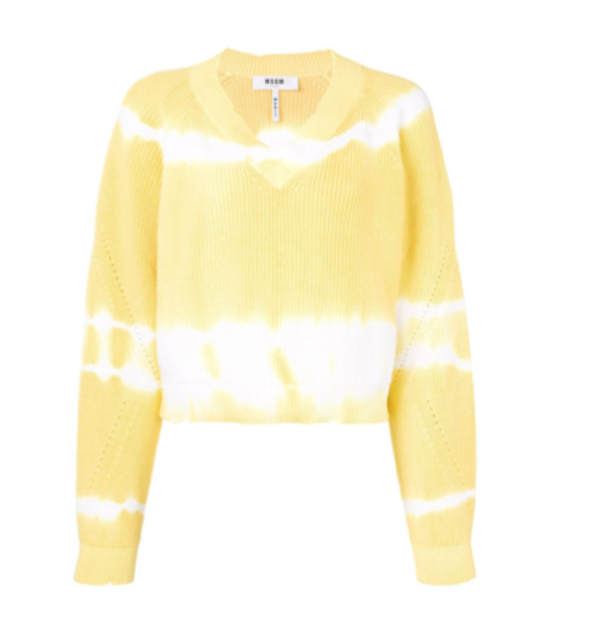 MSGM -  V-Neck Tie-Dye Knit Sweater