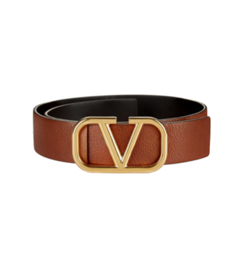 Valentino Garavani -  Gold Logo Leather Belt