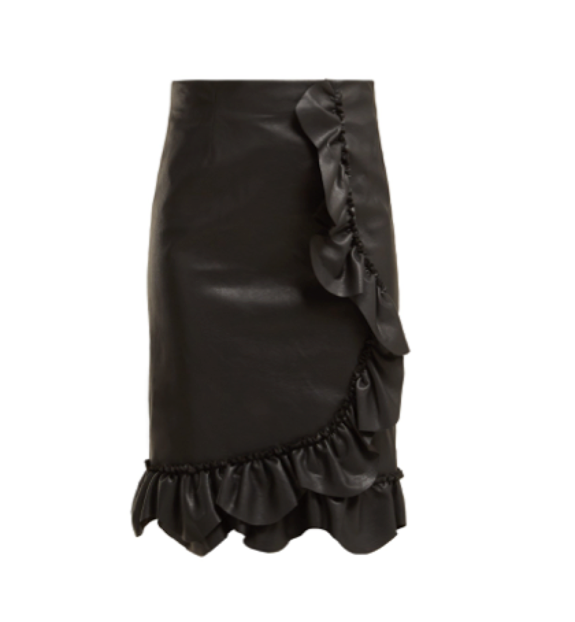 Rebecca Taylor -  Ruffled Faux Leather Pencil Skirt