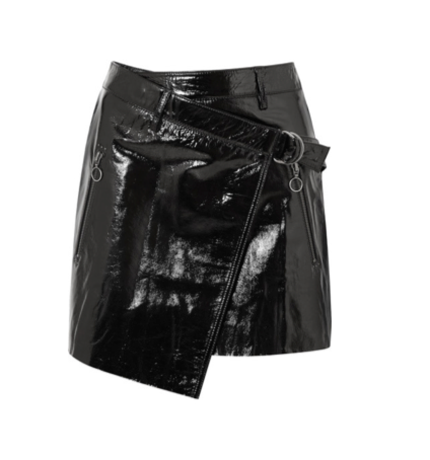 Ksubi -  Textured Patent-leather Wrap Mini Skirt