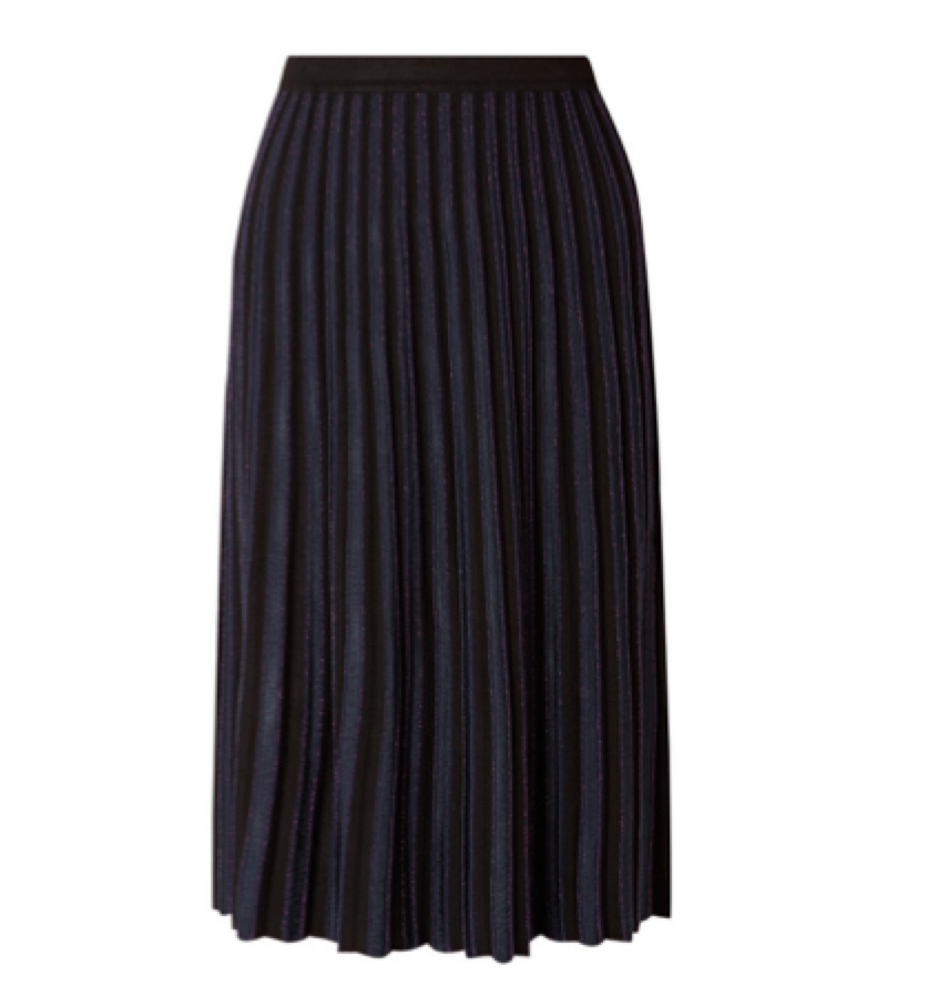 Diane Von Furstenberg -  Pleated Metallic Stretch Skirt