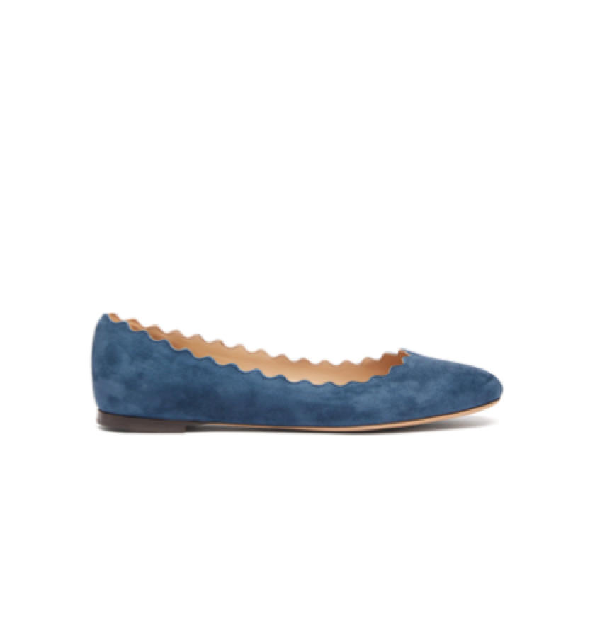 Chloé Chloe - Scallop Edge Leather Ballet Flats