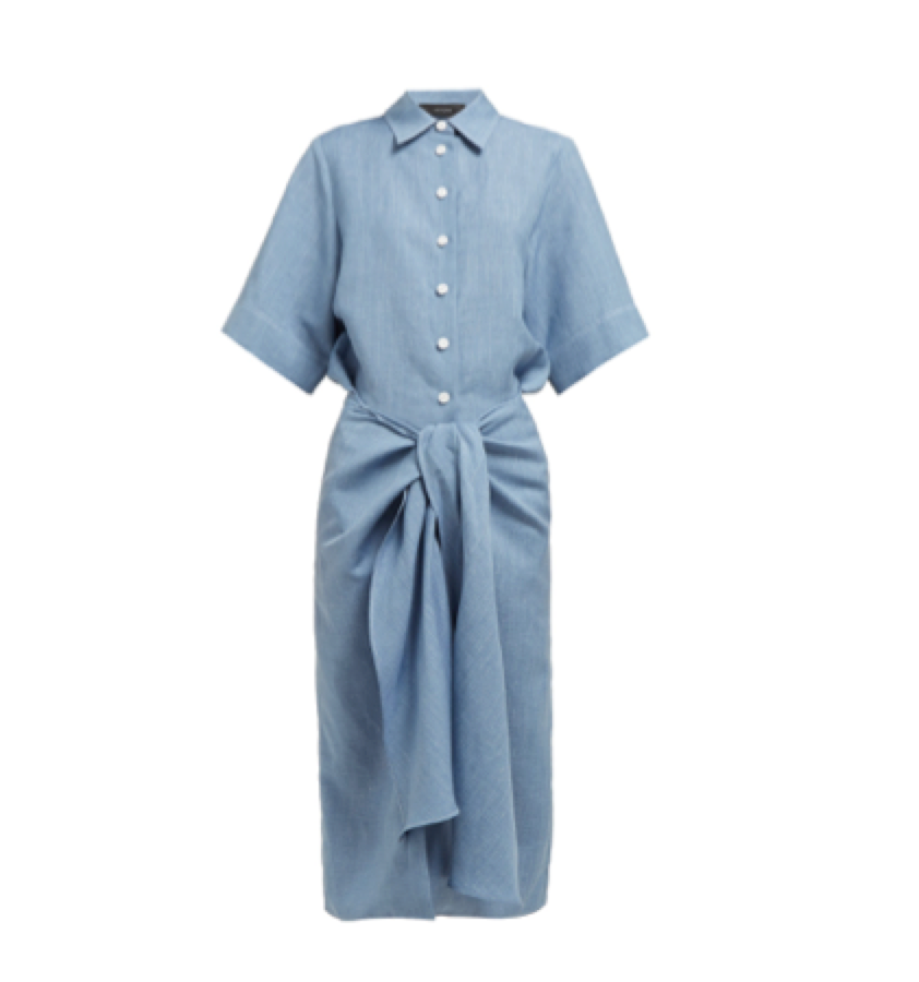 Joseph -   Tie Waist Linen Blend Dress