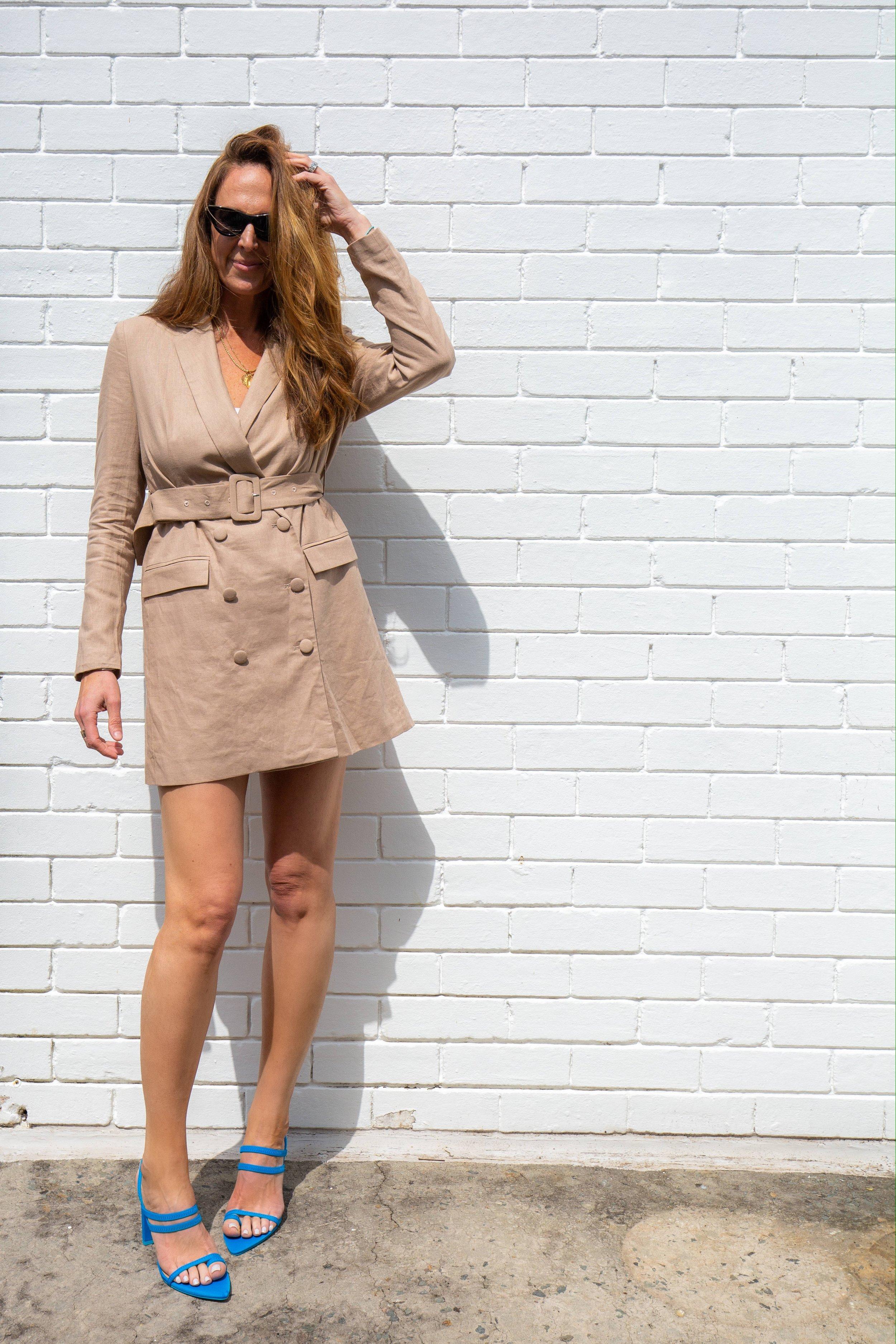 NA-KD Linen Blazer Dress