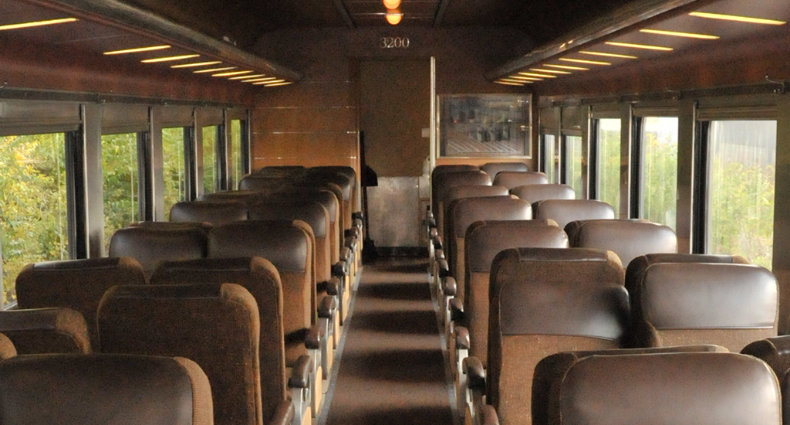 Deluxe Class - Car 3200 - Deluxe Coach class seating will be inside the Milwaukee Road 3200 car. This long distance coach car was featured in the 2015 movie