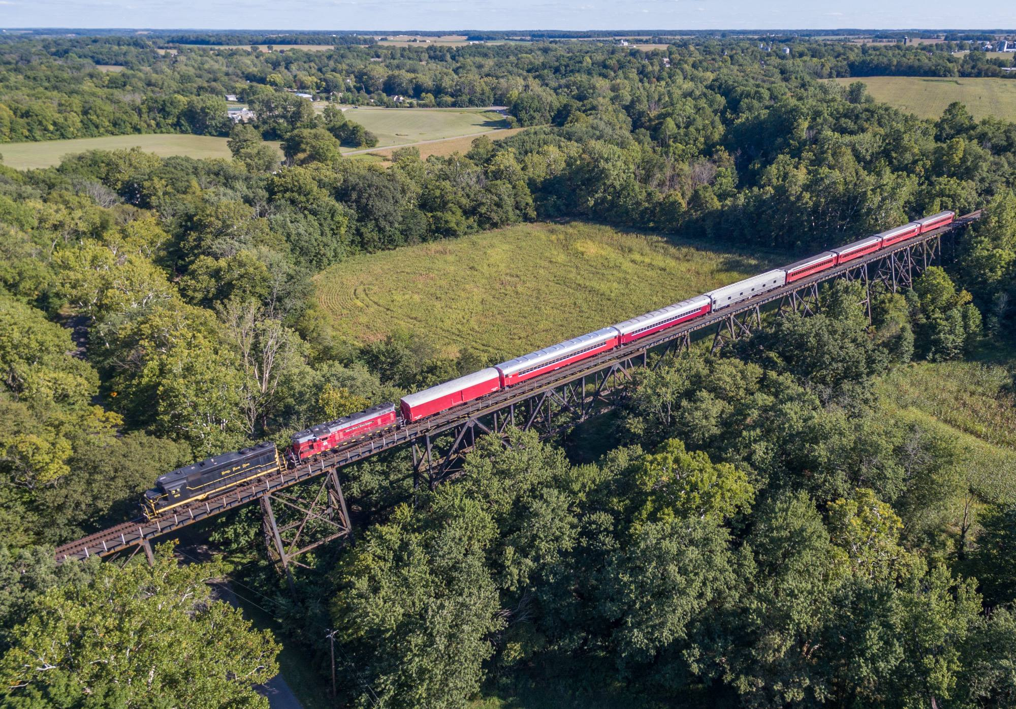 Our train crossing the Quincy High Bridge in Quincy, OH. Ride over is bridge on our  Lima Limited  excursion this spring. 2018 train rides will feature deluxe class air conditioned seating.