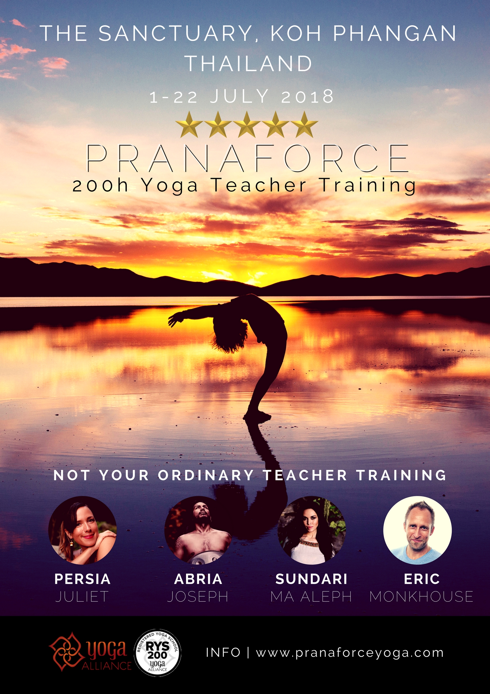Not your ordinary teacher training - The Pranaforce 200 Hr Yoga Alliance Certified yoga teacher training is not your ordinary Yoga Teacher Training. In addition to all you would expect from world-class teachers:~~ This is the first of its kind integrated sound-healing YTT, with TED-talk training~~ It's designed to be private and intimate, with at most 5 students per teacher~~ You graduate with your own website and professional yoga photography