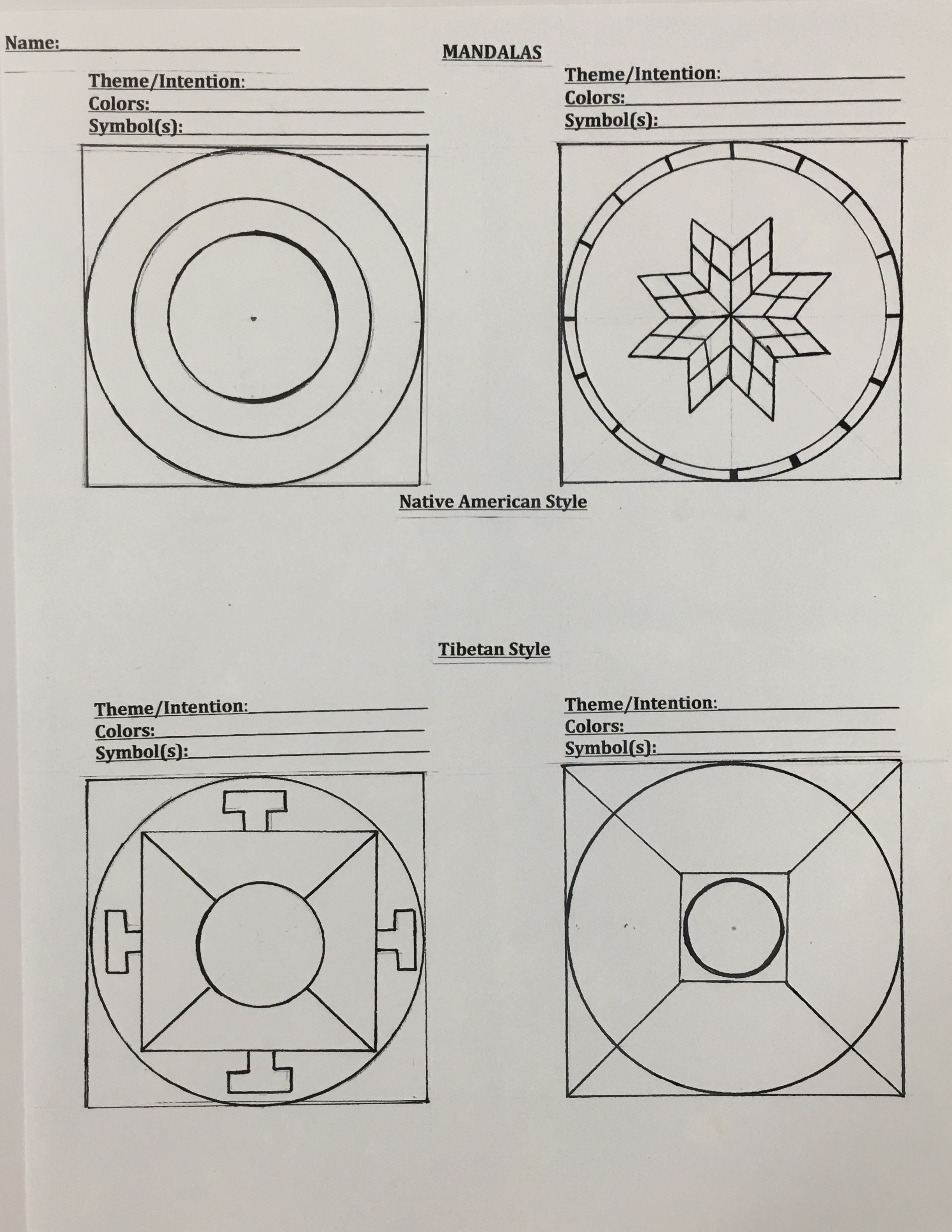 Sketches - These outlines show a starting point for a mandala design.