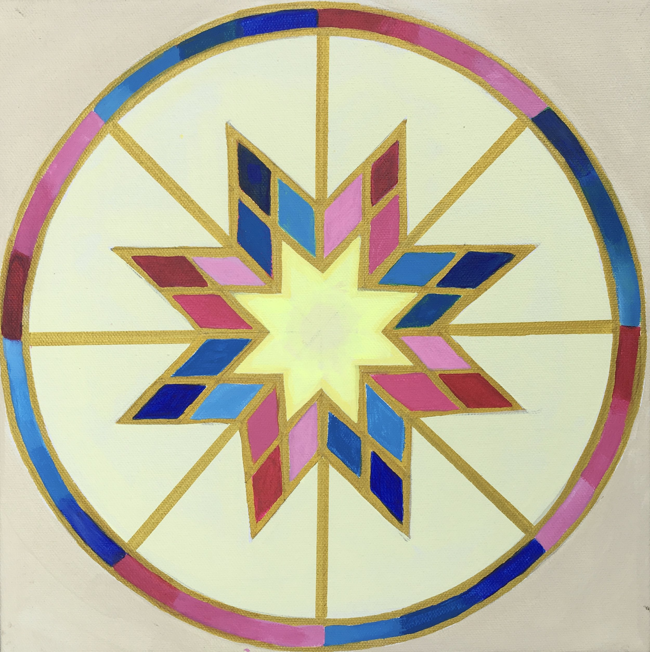 Artwork - This mandala combines the Native American style with Buddhist color symbolism.  Combining cultures can be a fun way to create original designs.