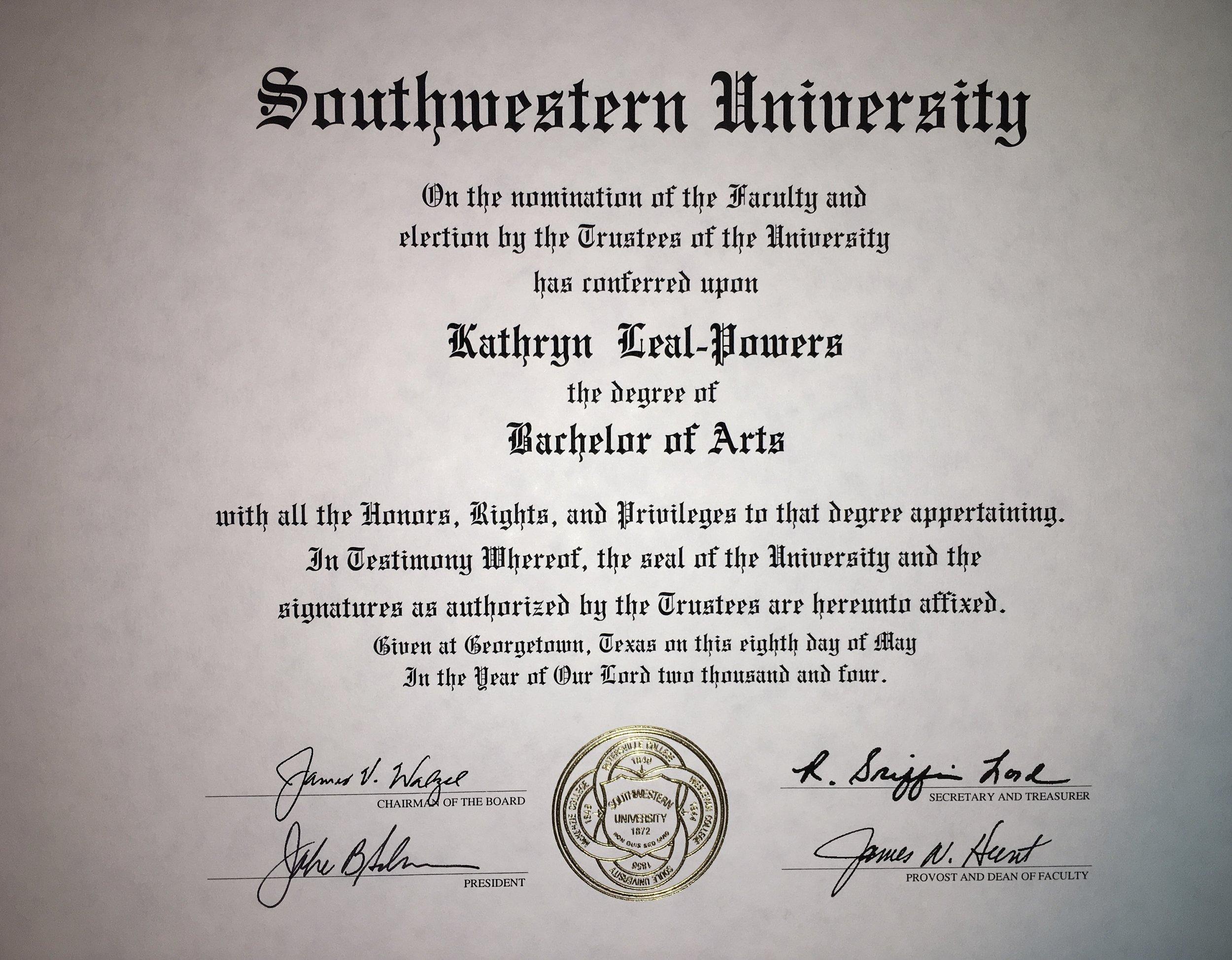 2004 Graduating Class, B.A. major in Studio Art and minor in Art History.