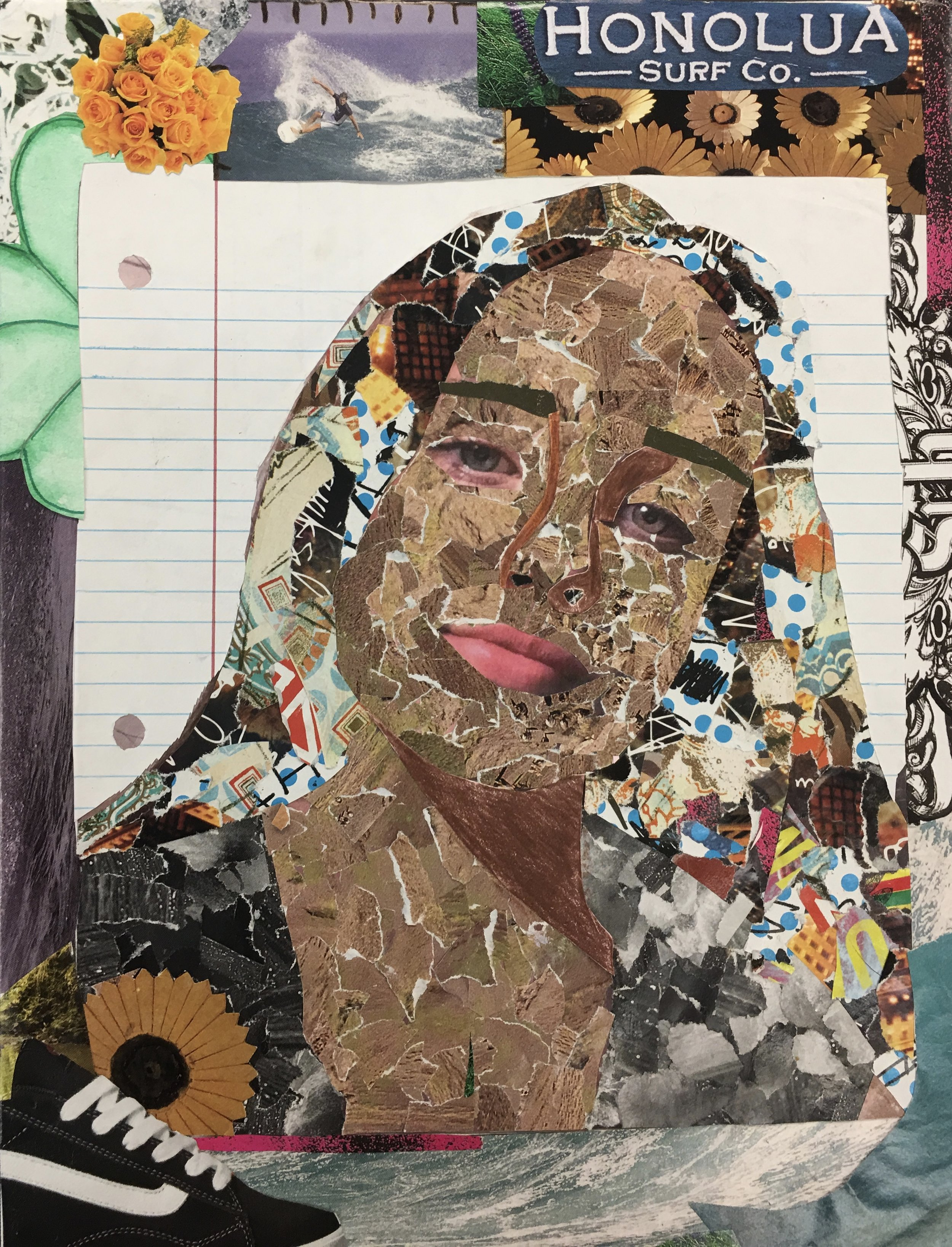 Final artwork - This won a first place award in the San Diego area and then a California state wide competition. She used a photograph of herself to underlay the collage self-portrait.