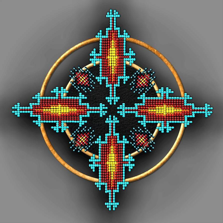 Native American mandala made of beads and wood.