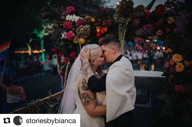 #Repost @storiesbybianca with @get_repost ・・・ Congratulations Mrs + Mrs Envy.  First couple to be married during the Auckland Pride Parade, the same place you met... now saying your I-DO's in front of the masses... thanks for sharing your day with myself and the crew!  Love is Love.  #camerazonian #loveislove #wifeforlife #married #nzphotogs #aucklandprideparade #rocknrollbride #aklpride