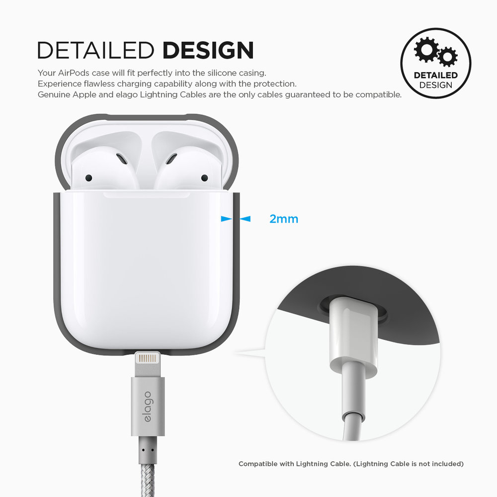 Dark Grey elago AirPods Silicone Case with Keychain Designed for Apple Airpods Case 2 /& 1