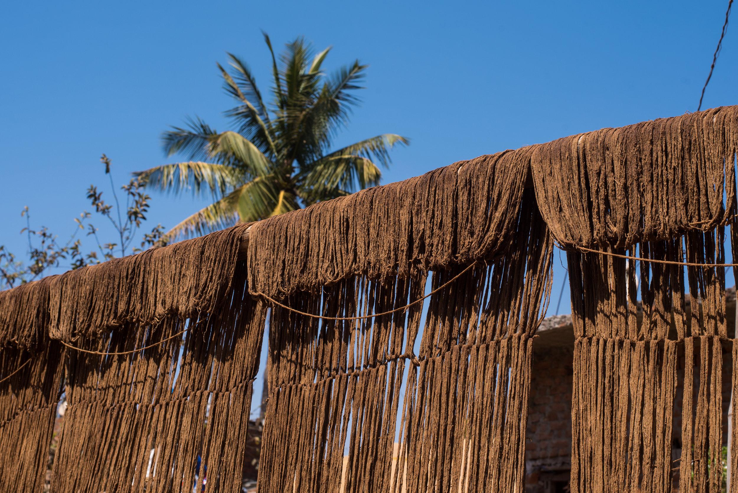 Yarn drying on bamboo poles