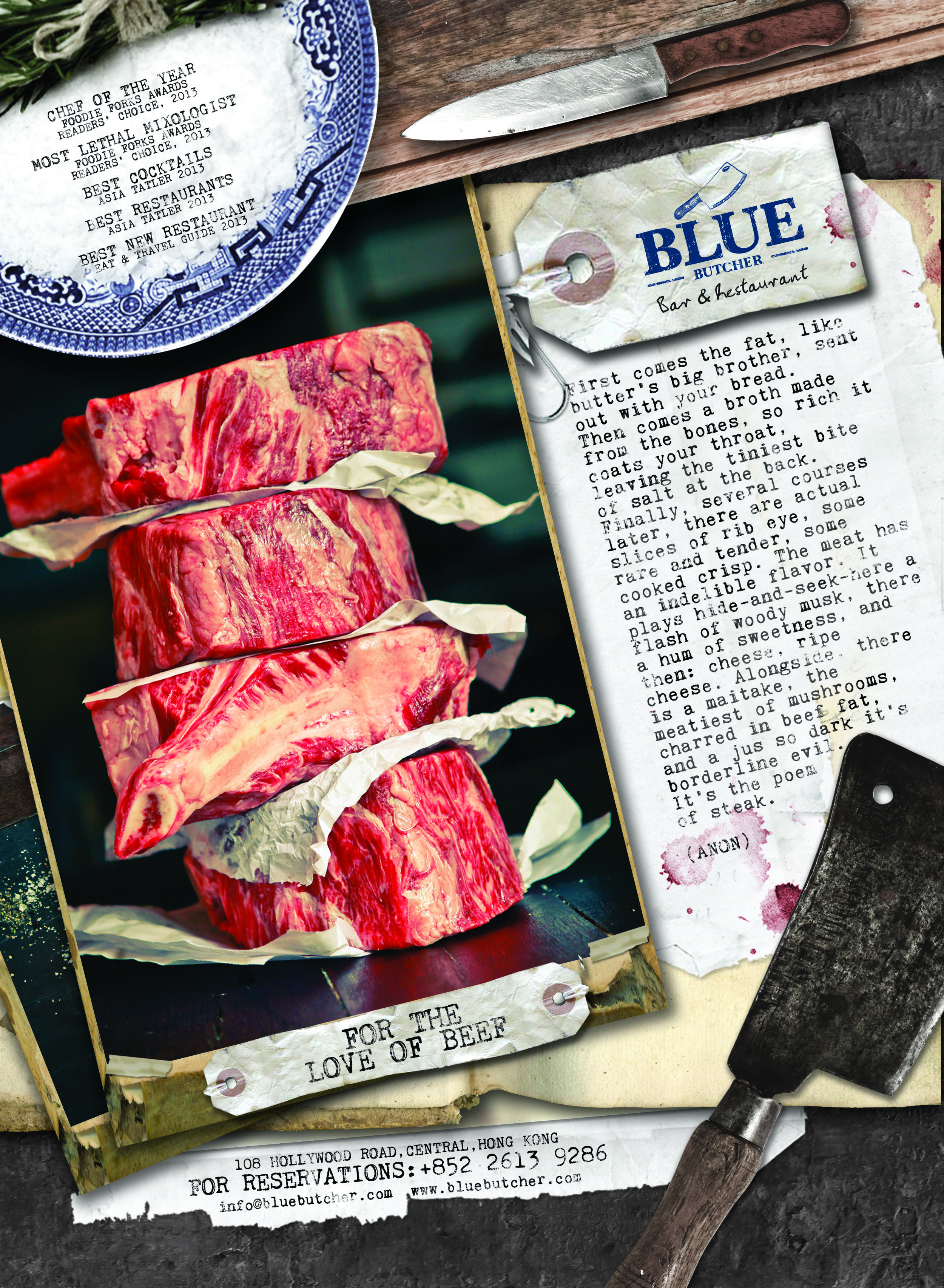 BLUE BUTCHER PRINT AD