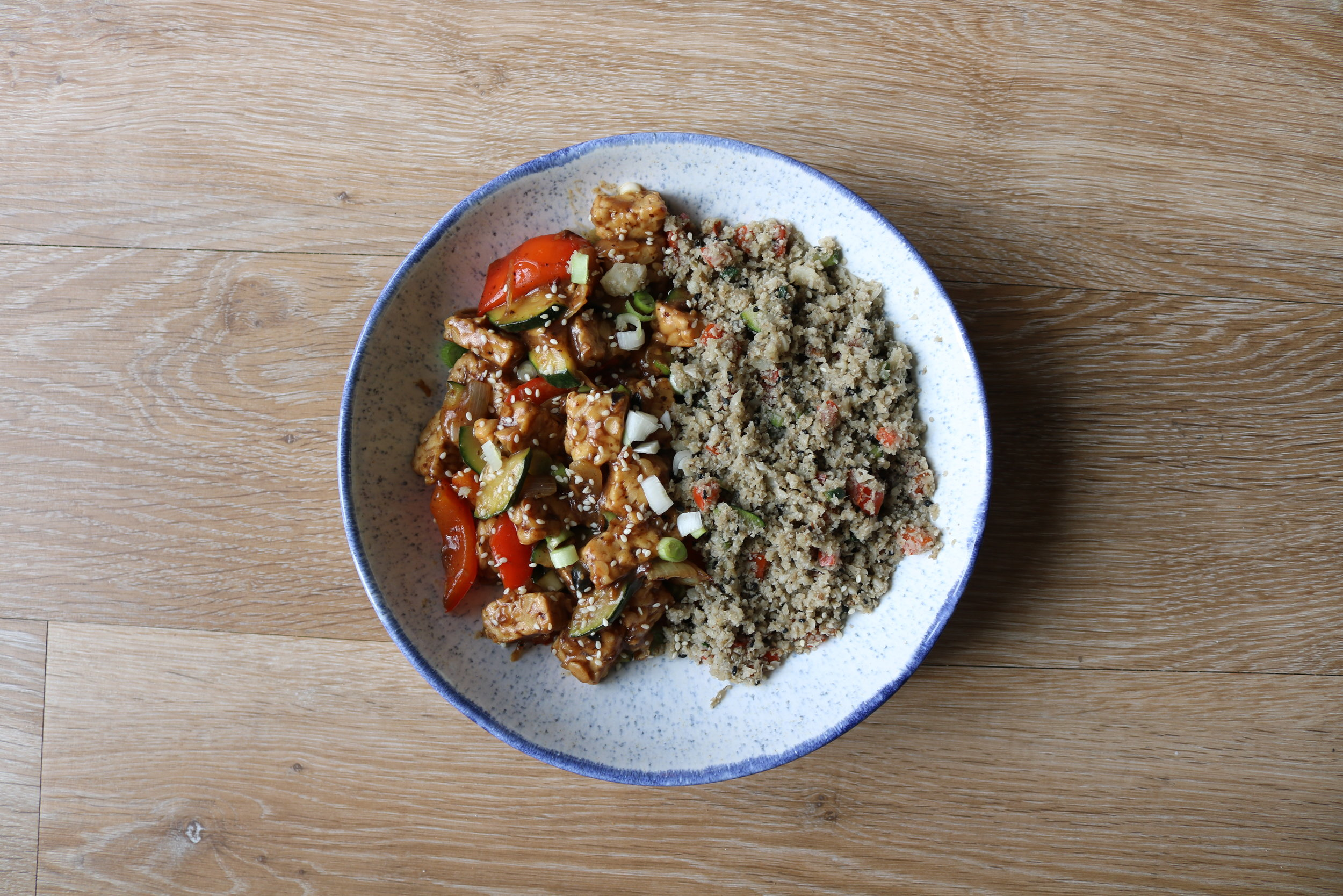 Black Bean TEMPEH Curry with Sesame cauliflower rice - need we say more?