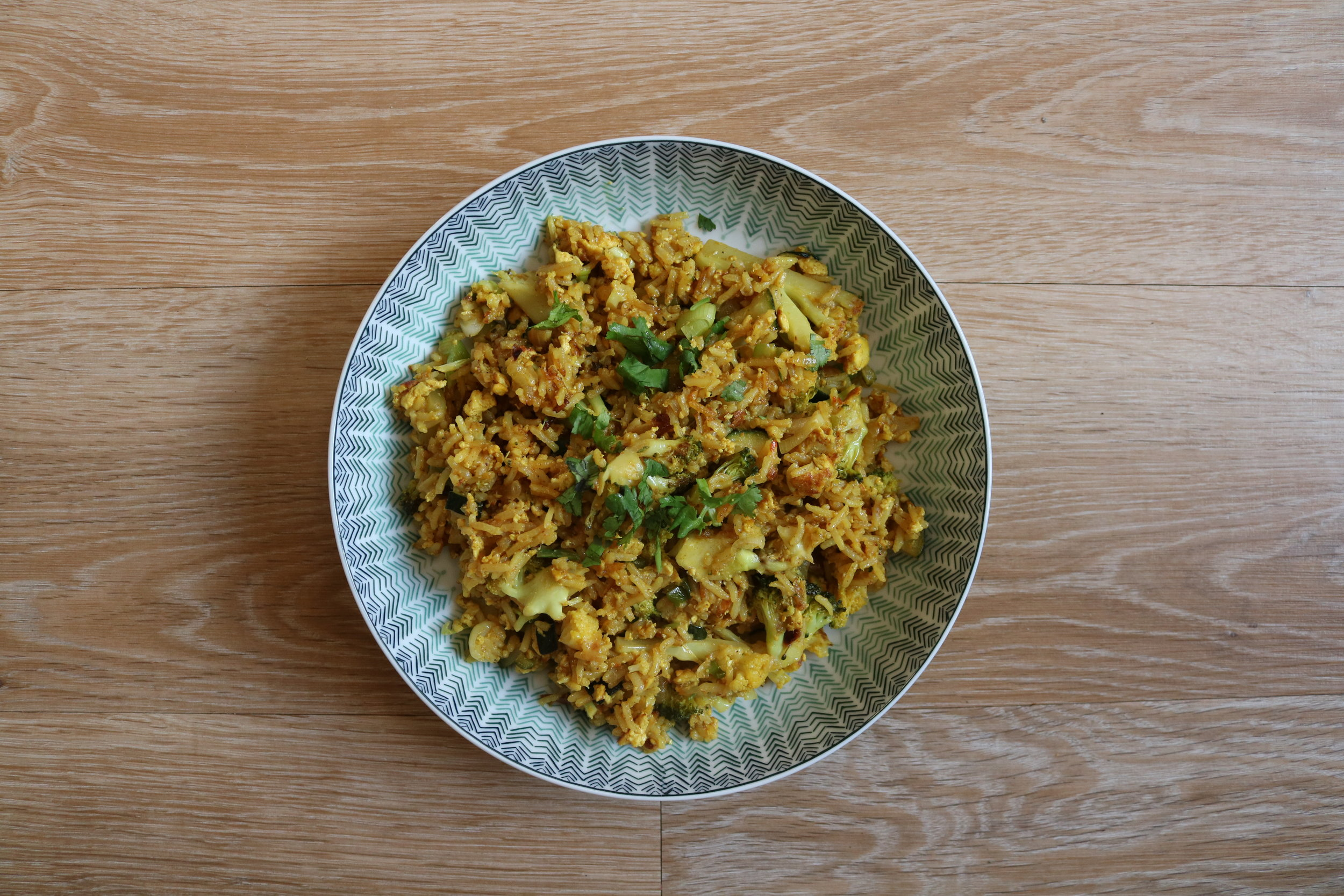 Indian fried rice - rice, tofu, veggies