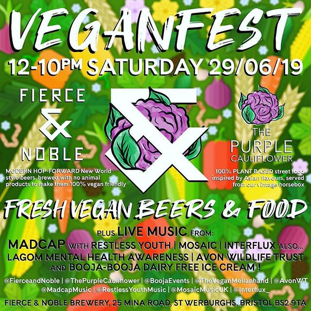 "We are so excited for this event! Please read below 👇💜 Repost @fierceandnoble ・・・ Bristol is the vegan capital of the World, so we are proud to be hosting our very first VEGANFEST! Did you know all of our beers are vegan friendly? Come and visit us on Saturday 29th June, try one of our delicious beers and some mouth watering food. 🥦 We are thrilled to welcome @ThePurpleCauliflower; a couple of passionate chefs looking to bring a new take on Asian inspired street food. Their dishes are made with 100% plant-based ingredients and served from their vintage purple horsebox. 🥕 Something sweet to follow? @BoojaEvents will be offering scrummy dairy-free ice cream from their amazing pink tuktuk. Their minimal recipes have simple, organic ingredients and everything is vegan as well as dairy, gluten and soya free. 🍆 PLUS! Live Music from local bands: @MadcapMusic | @RestlessYouthMusic | @MosaicMusicUK | @Interflux_ 🥔 ALSO... @TheVeganMellanhand will have a stand promoting the Scandinavian way of life, notably ""lagom"" which can enhance people's overall wellbeing. ""Lagom"" is the Swedish translation of ""Not too little, not too much. Just right."" 🌽 @AvonWT will also be on hand to talk about the amazing work they do in 30 nature reserves across Bristol, Bath and North East Somerset, South Gloucestershire, and North Somerset. 🌾 The day will kick-off at 12pm and we will stay open until after 10pm. . . #veganbristol #veganfest #bristolvegan #plantbased #funday #plants #veganbeer #purpleisthecolor #ThePurpleCauliflower"