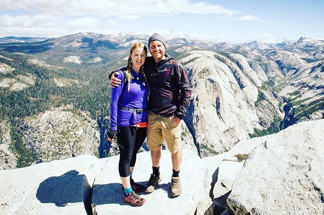 This is a shot of us on top of Half Dome in Yosemite National Park last year. We'll never forget this hike and the epic climbing section at the end! . . . . . . . #halfdome  #yosemite  #yosemitenationalpark