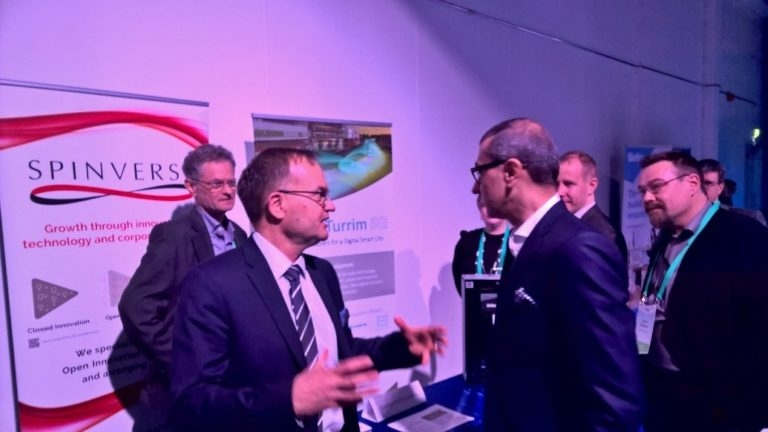 Pekka Soini, Director General of Tekes the Finnish Funding Agency for Innovation and Rajeev Suri, President and CEO of Nokia     discussing the LuxTurrim5G demos at the exhibition.