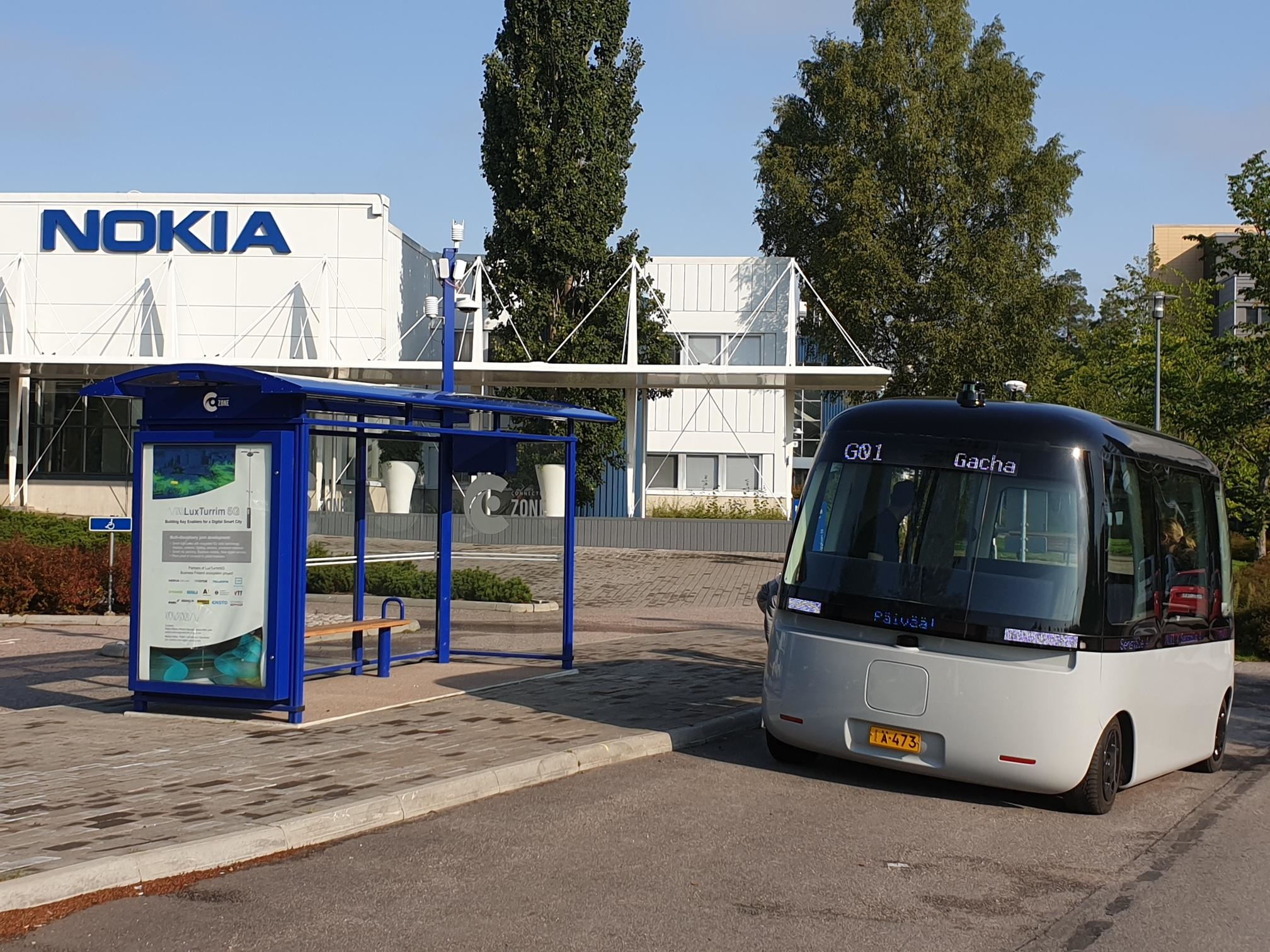 Gacha at Nokia Campus 10.9.2019. The smart bus stop by Teleste is part of the 1.5 km long LuxTurrim5G test route.