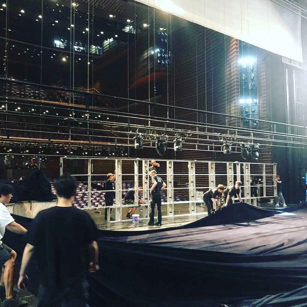 Bühnenaufbau im LG Arts Center, Seoul, Südkorea