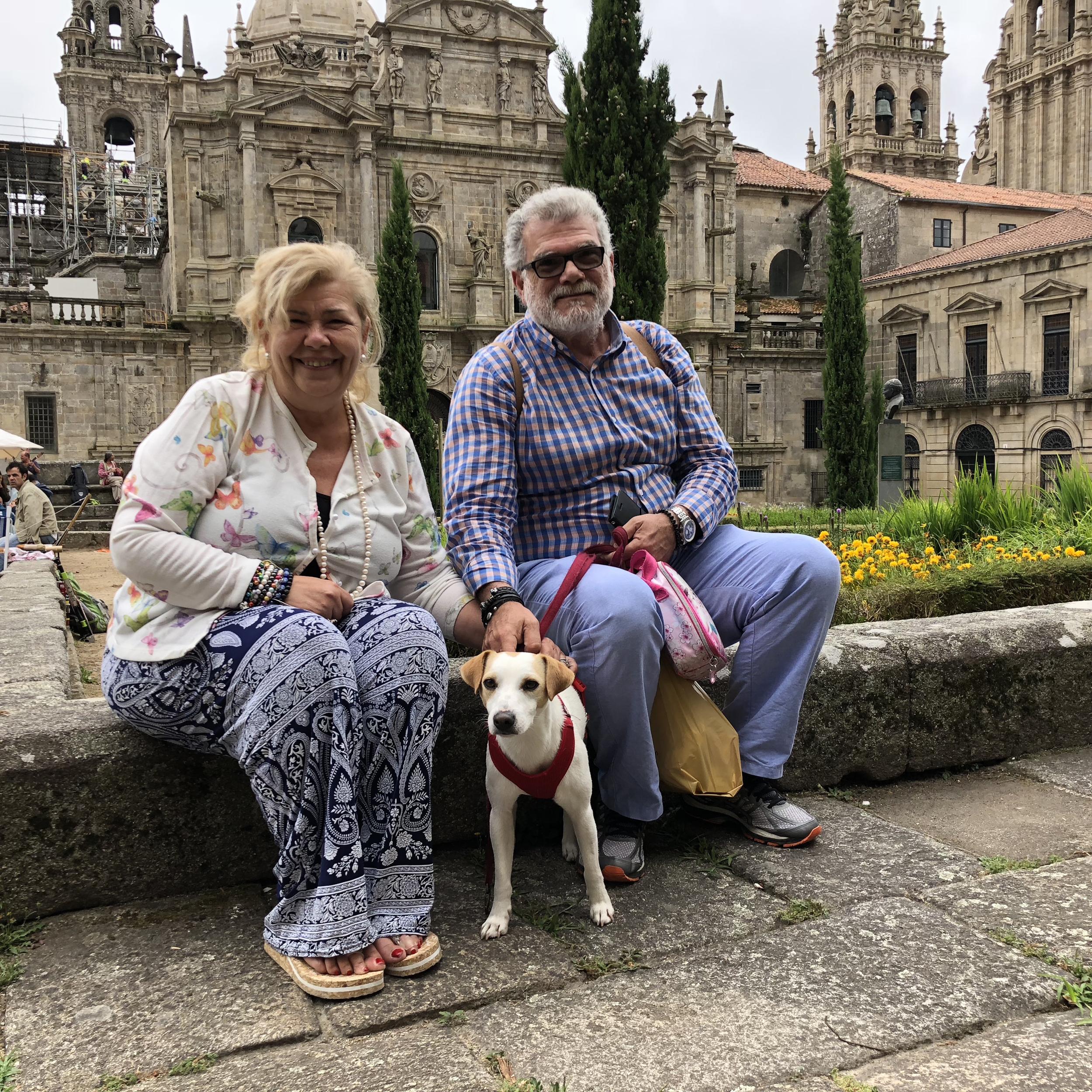 Con Montse y Ernesto, de Málaga.