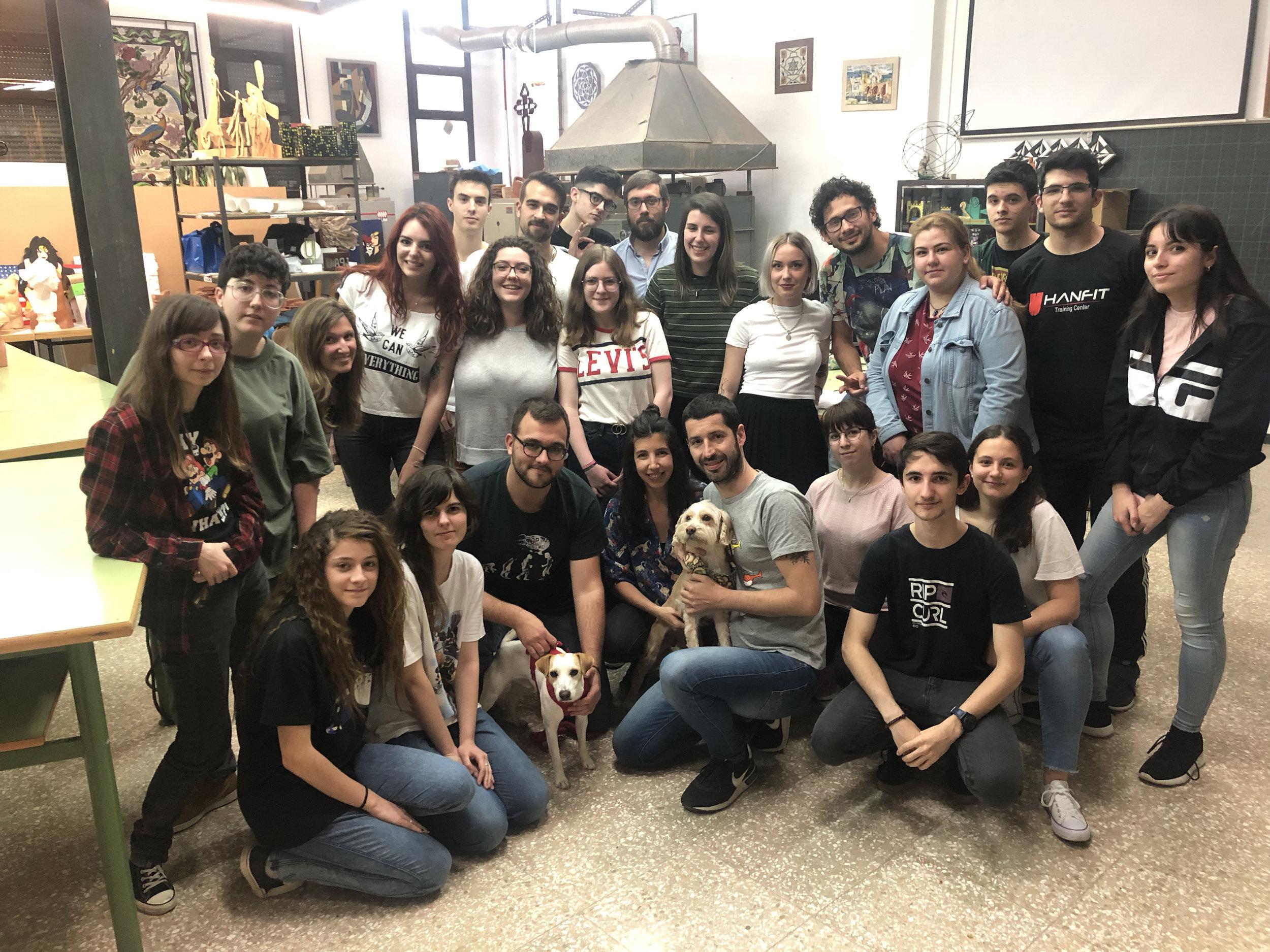 Con alumnos de la Escuela de Arte José Nogué de  Jaén.
