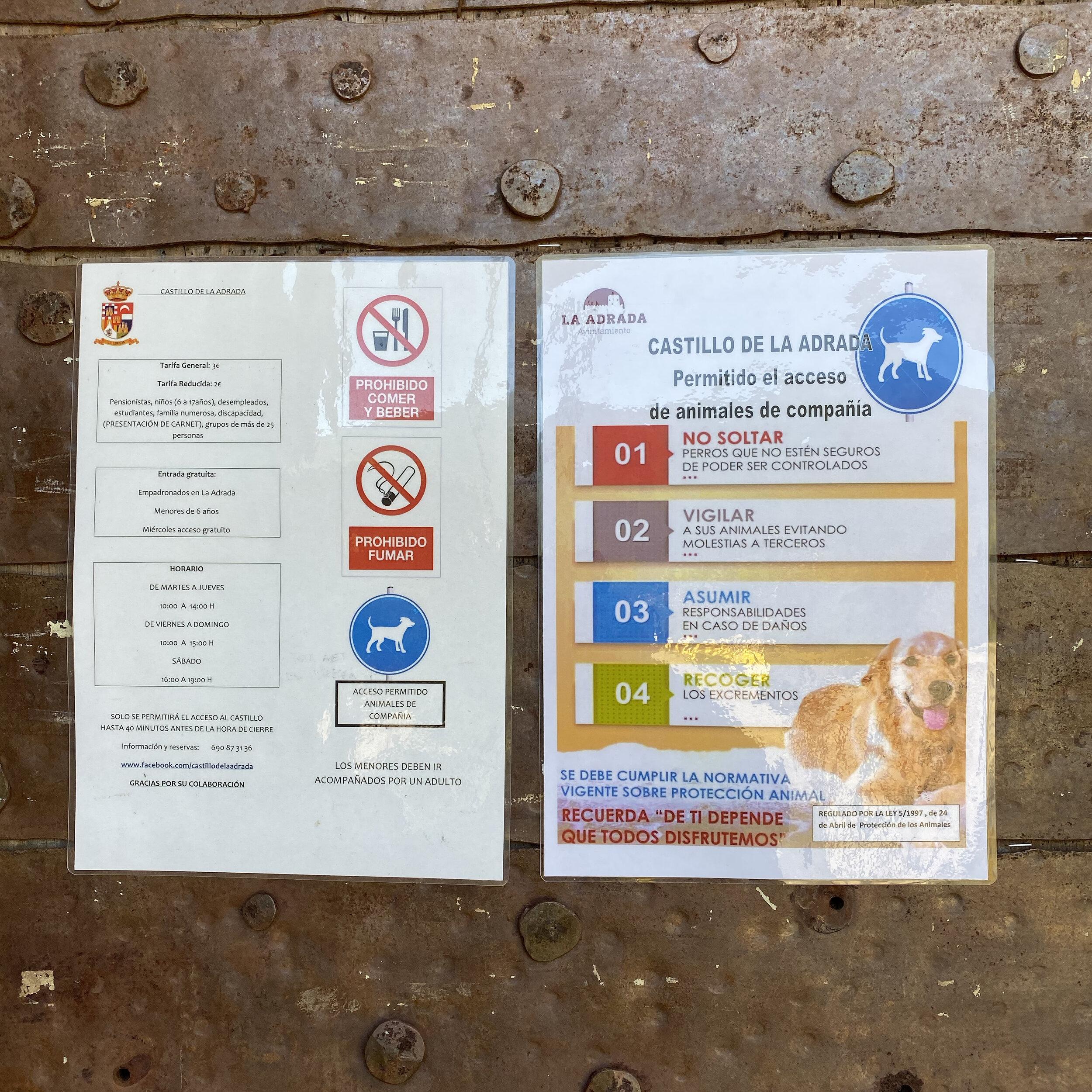 Normas de acceso para los perros.