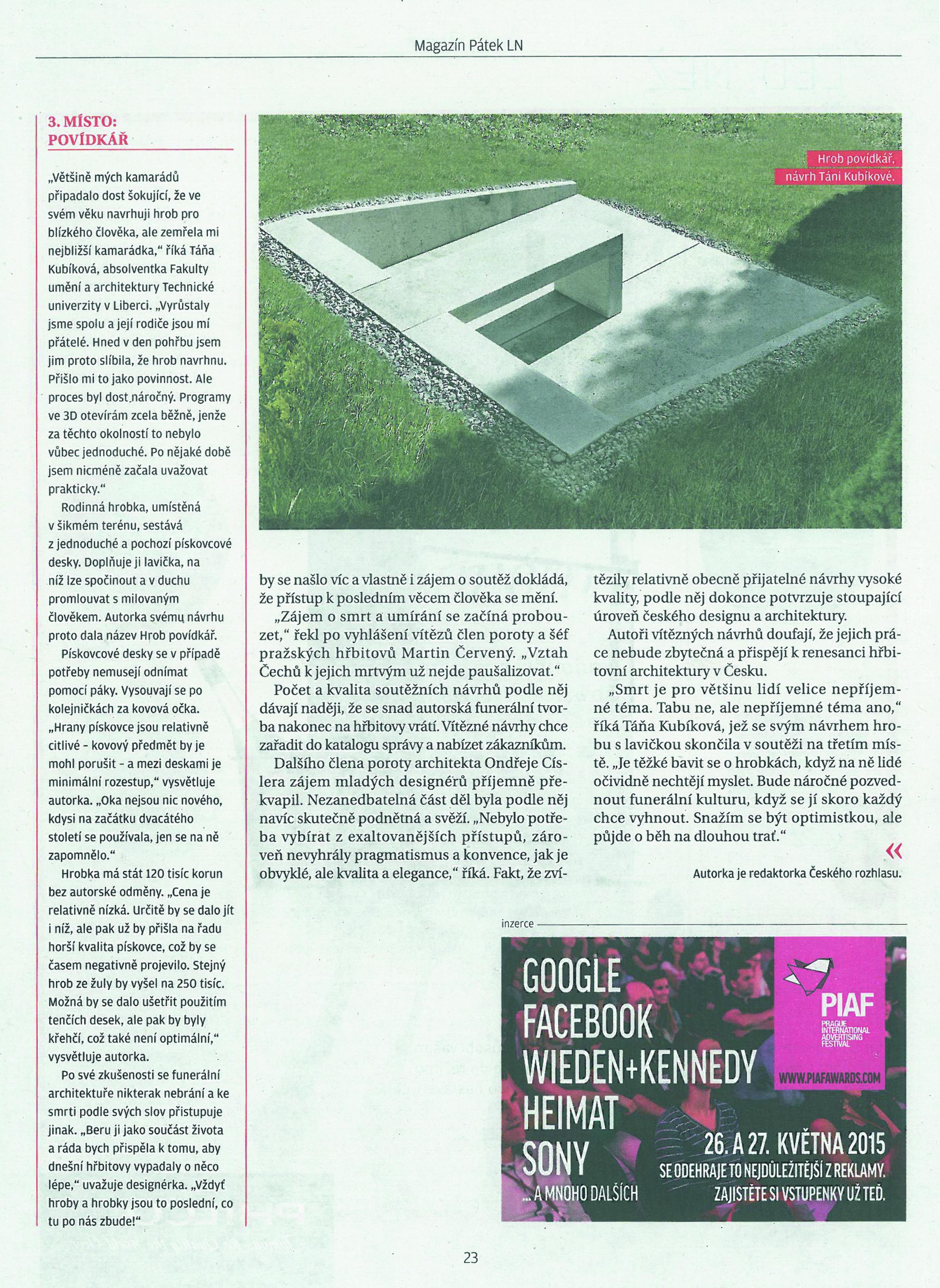 Funeral Desing in der Zeitung - Lidové noviny (Volkszeitung -