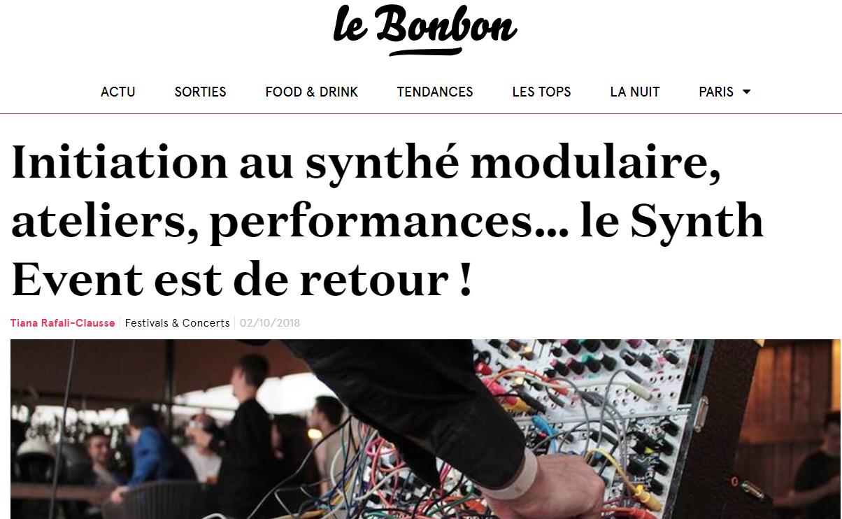 Le Bonbon qui parle de notre prochaine édition du Synth Event