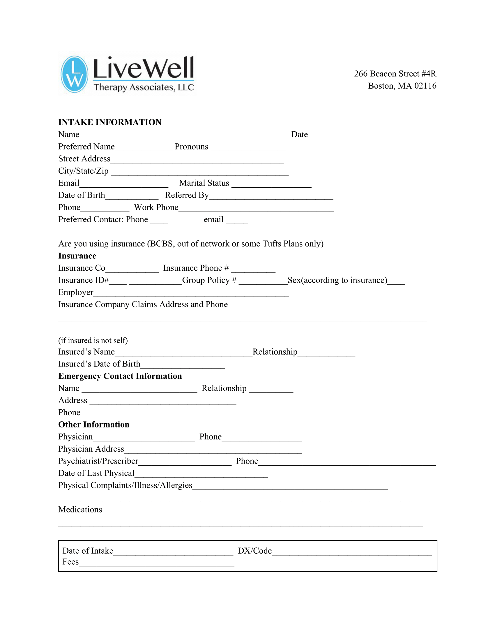 INTAKE Forms/POLICIES -