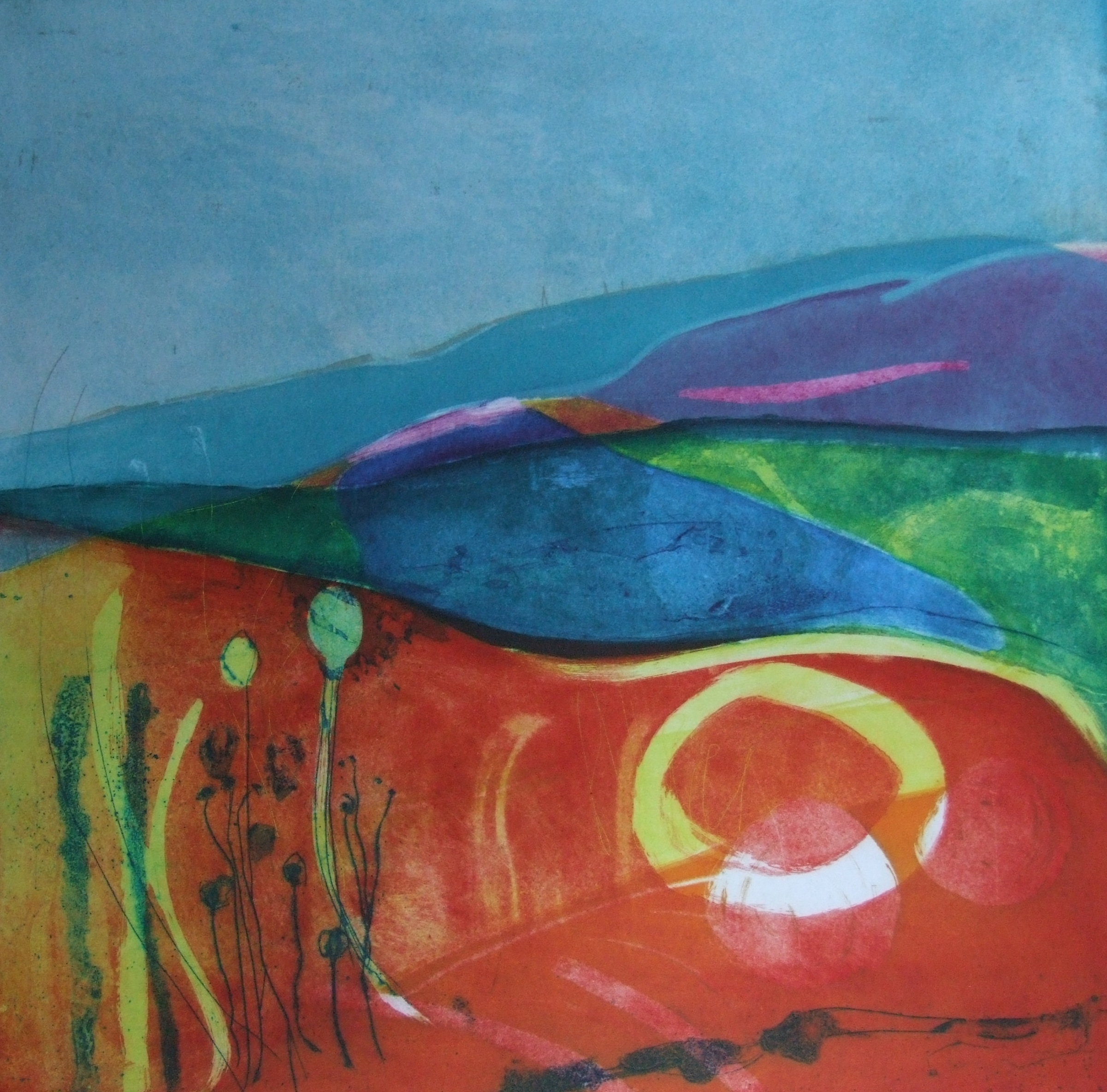 Summer Solstice, Etching and Collagraph 50  x 50cms, unframed £390. Framed £535..JPG