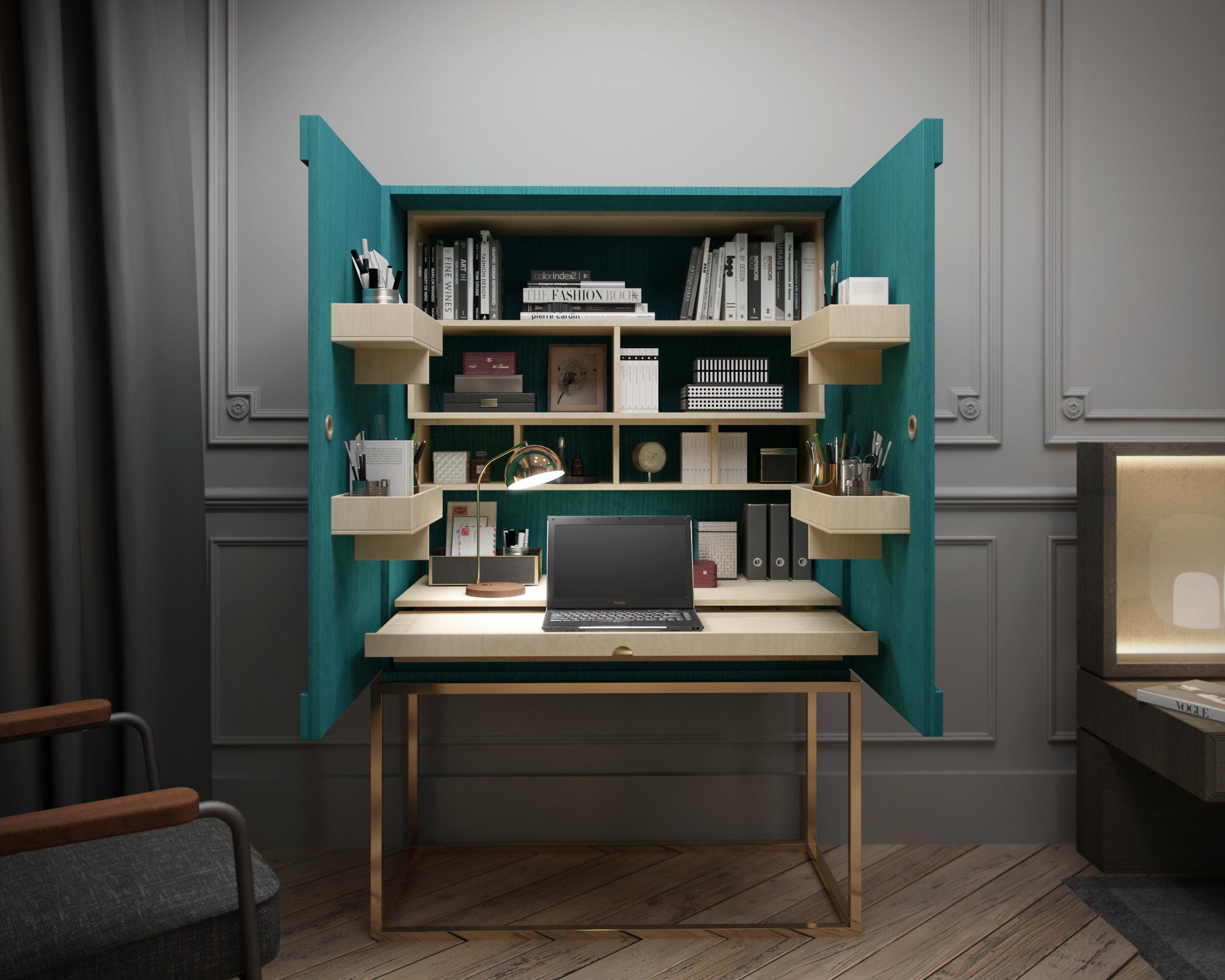Paris Apartment Interior Design Bedroom Furniture Joinery Box C Cabinet 1.jpg