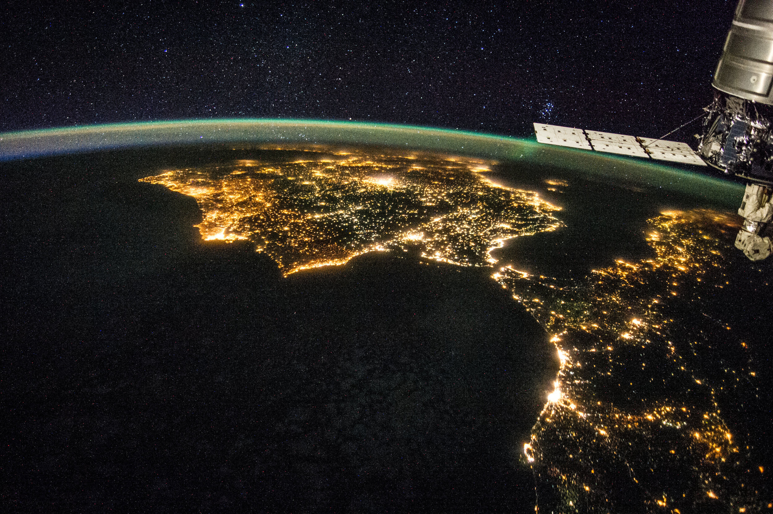 Spain and Morocco are a kiss away across the Strait. If you can spot Gibraltar, my pueblo Los Barrios is the blob on the left.  © NASA