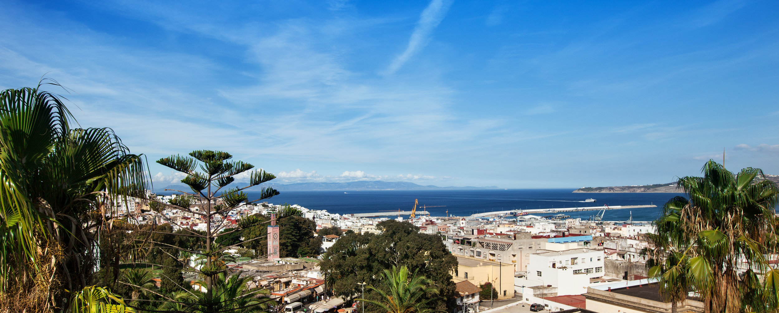 A Matisse view of Tangier looking out over the medina to the port and the coast of Spain