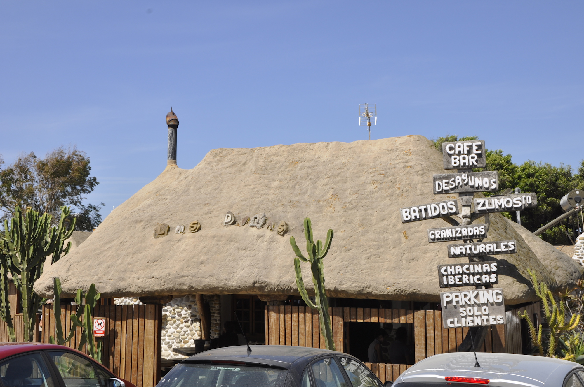 Refreshment Stop - Cafe-Bar las Dunas looks like an adobe mud hut given a makeover by Fred Flintstone but its cool stone interior and gorgeous garden make it a popular spot and summer nights are enlivened by live indie bands.