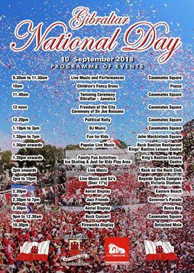 Programme for National Day Gibraltar 2018